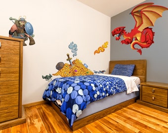 Dragon Hunter Children's fantasy Fairy Tale wall sticker | Kids Wall Decal art | Hand Illustrated | Fun feature wall