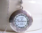 I Still Believe In 398.2 Necklace, Photo Locket, Locket Necklace, Fairytale Necklace, Book Jewelry