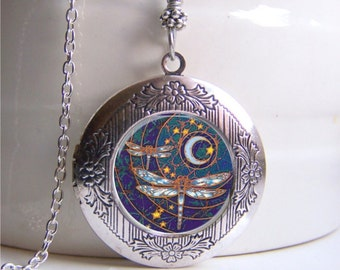 Photo Locket, Dragonfly Necklace, Dragonfly Art Locket, Silver Locket, Dragonfly Jewelry
