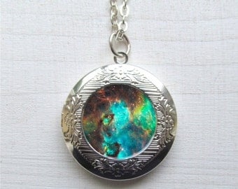 Nebula Necklace, Photo Locket, Galaxy Locket, Locket Necklace, Space Pendant