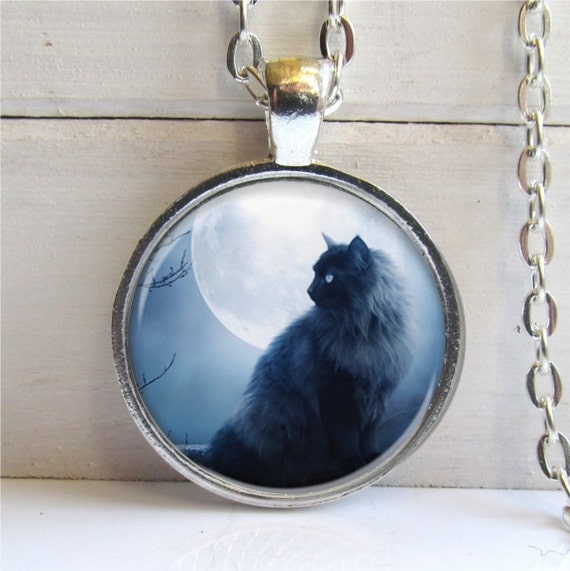 Black Cat Pendant, Cat Necklace, Cat Jewelry, Silver And Glass Charm Necklace