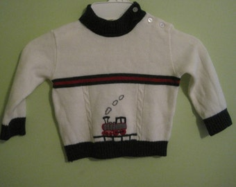 LAST CHANCE- Vintage cream train sweater by JCPenney Toddle Time, size 1.5, 23-26 pounds