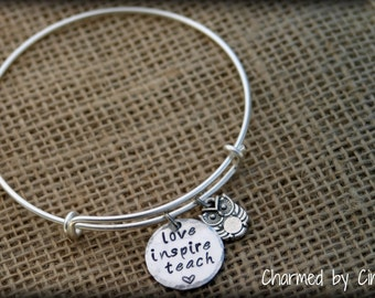 love inspire teach - adjustable bangle bracelet