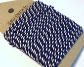 Navy blue and white bakers twine. Dark blue. 10 metres