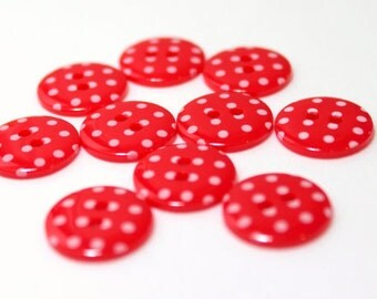 Red and white Spotty 2 hole buttons. 15mm. Pack of 10