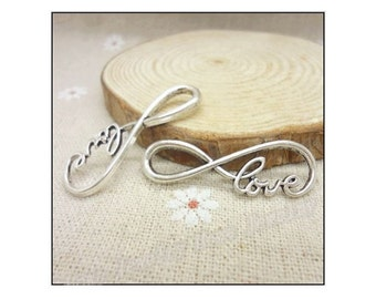 4 Love Infinity Bracelet Connectors Eternity Endless Love Atq Silver Tone Infinities Jewelry Connector 40x12 mm