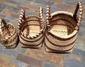 Fair trade hand woven grass baskets set of 3