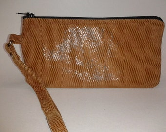 Handmade - Rust Shimmer Leather Wristlet - Limited Edition Color