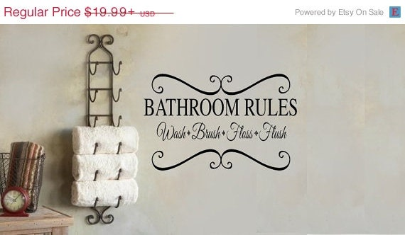 BATHROOM RULES wash brush floss repeat  Bathroom  Vinyl Wall Lettering Decal LARGE Size Options