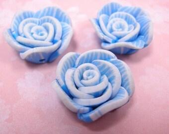 4pc fimo clay handmade flower bead-blue-795B