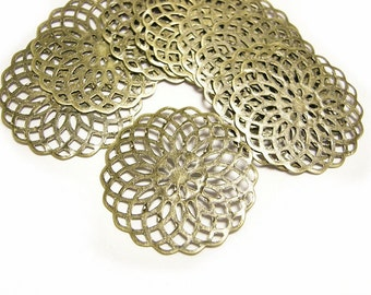 30pc 25mm antique bronze metal filigree center piece/wraps-9061