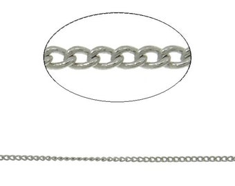 5 feet 1.2x0.35MM platinum look lead nickel free soldered brass chain-9187