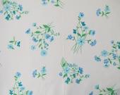 Vintage Sheet Fabric Fat Quarter - Crisp Blue Floral