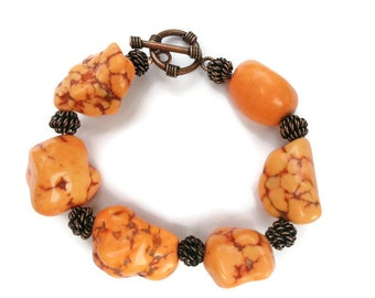 Orange Stone With Copper Chunky Fall Toggle Bracelet