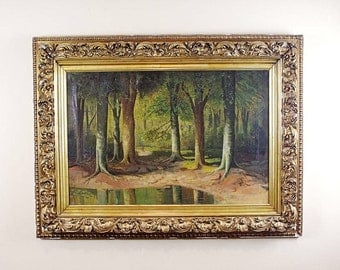 Lake Landscape Oil Painting of Forest, Peaceful Path