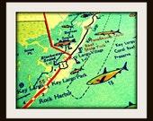 vintage map KEY LARGO retro Florida Keys 11x14 16x20 color print aqua turquoise yellow red wall art coastal travel decor