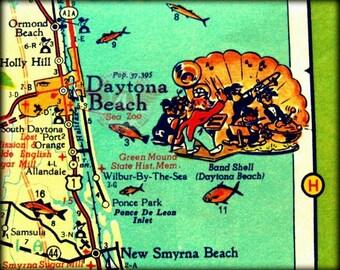 DAYTONA BEACH Map, Daytona Beach Art, Mid Century Modern Art Map, MCM Vintage Florida 8x10 Map, Retro Florida Art, Retro Map Art Print