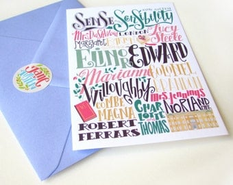 Sense and Sensibility cards: characters and places (3.94 x 5.91) set of 3 cards with matching envelopes