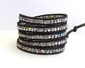 Leather Wrap Bracelet - Czech Vitrail Beads, Black Leather - Bohemian Chic