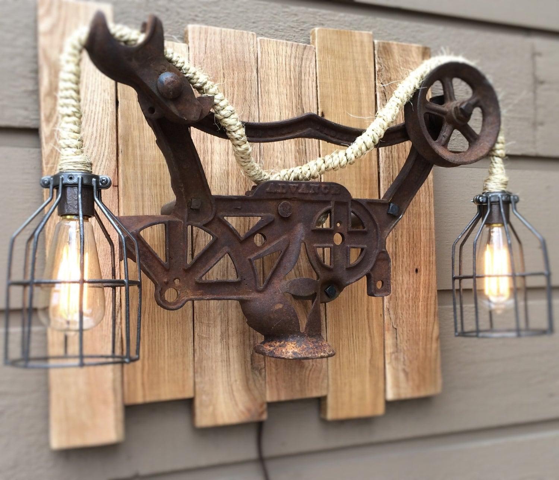 Rustic Light Industrial Chandelier Rope Pulley Yoke Wood Metal: Hay Trolley Carrier Lamp Wall Rustic Steampunk