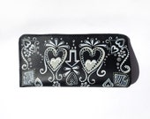 Hand Painted Leather Eyeglass Case in Calavera - Day of the Dead Theme