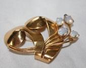 Vintage Coro Moonstone Brooch 1950s Jewelry