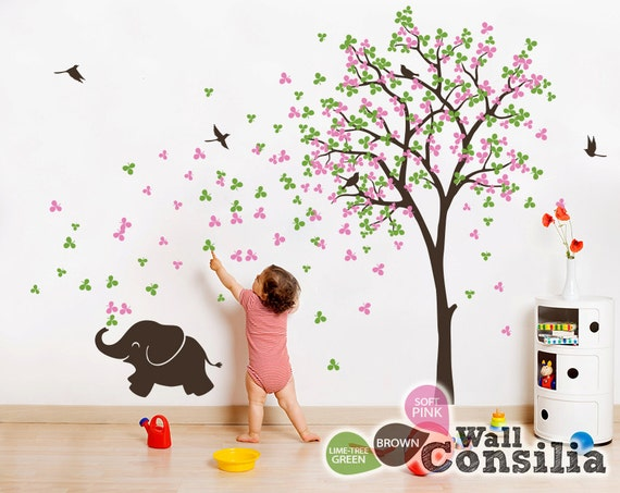 baby kinderzimmer wandtattoo baum wall decal elefant. Black Bedroom Furniture Sets. Home Design Ideas