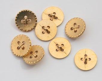"""13 Vintage 7/8"""" Metal Shank Buttons. Yellow Gold Tone with a Semi Gloss Finish. Faux 4 Hole Center Stitch Design. Solid Metal. Item 1578M"""