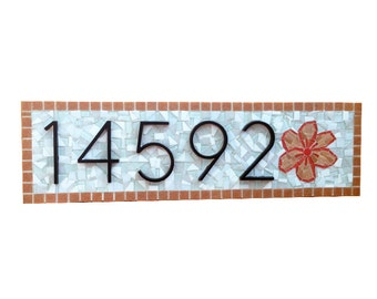 Mosaic Address Sign with Flower  -- Custom Colors Available
