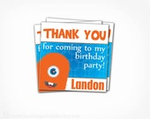 Monster Favor Tags -  Printable PDF File Birthday Party Thank You Tags - Lil Monster Bash Thank You Card - Monster Party Collection