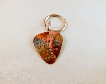 Guitar Pick Keychain - Hand Stamped & Flame Oxidized Copper Guitar Pick Keychain - I'd pick you every time - Men - Women
