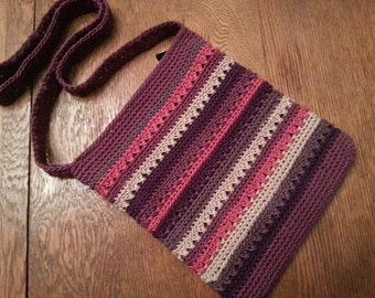 Crochet Crossbody Bag Purple Berry Pink Summer Stripes Lined Pockets Zipper Closure Striped Festival Purse