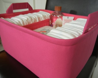 """Ex Large Diaper Caddy-14""""x 10""""x 7""""(CHOOSE Basket & Lining COLORS)Two Dividers-Fabric Storage Organizer-Baby Gift-""""Hot Pink"""""""
