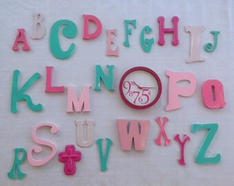 Wall Alphabet for Girls - ABC's with a Clock - Mint and Pink Hanging Letters