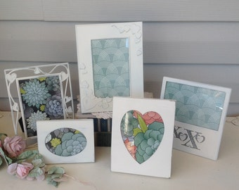 Shabby Chic White Picture Frames - Table Top Easel Back Heart Theme - Set of 5
