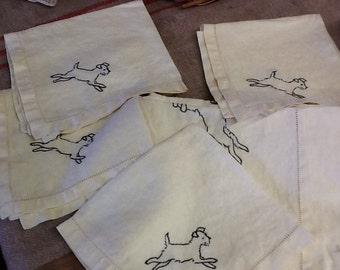 Vintage Linen Tablecloth with Matching Napkins Embroidered with Jumping Dogs