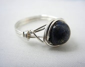 Lapis Lazuli Ring, Bridesmaid Jewelry, Argentium Silver Wire Wrapped Ring
