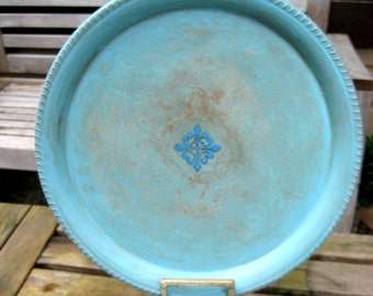 Vintage metal plate, painted and distressed,turquoise blue, embossed detailing, wall decor, jewelry display