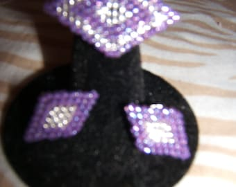 Purple Diamond Ring and Earring Set
