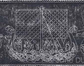 Vikings linocut relief print hand printed limited edition longships dark grey black
