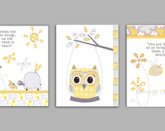 GRAY AND YELLOW Nursery Art, Owl, Bumble bee, Ladybug, Butterflies, Baby Nursery Decor, Set of Three. See listing for Sizes