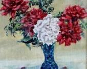 "Fine Art, Original Oil Painting, Floral Painting 5 X 5 ""Peonies"""