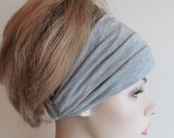 Grey Cotton Yoga Headband Bandana Headcover Spring Summer Stretch Gray Black Jersey