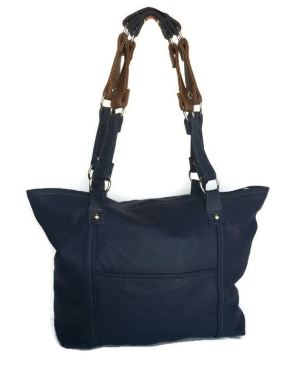 ON SALE Tote leather purse navy blue medium casual everyday bag rocker ...