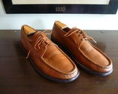 RARE Vintage Russell Moccasin Co. of Berlin, WI 3 Eyelet Calfskin Oxford Hardsole Camp Moc 11 D. Made in USA.