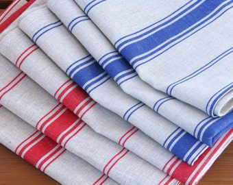 Linen Tea Towel / Hand Towel / Dish Cloth or a Guest Towel / Striped / Blue / Red / Ecru