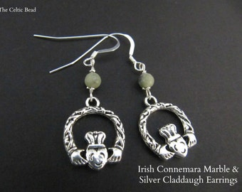 Irish Connemara Marble & Silver Claddaugh Earrings