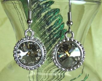 Swarovski crystal drop earrings in Silver Shade