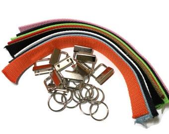 Key Fob Kit Variety Pack Cotton Webbing 1.0 inch webbing and hardware 10 sets