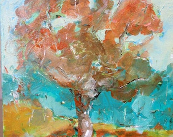 TERRACOTTA TREE An Original Oil Painting by Artist Beth Capogrossi, Abstract Tree Painting